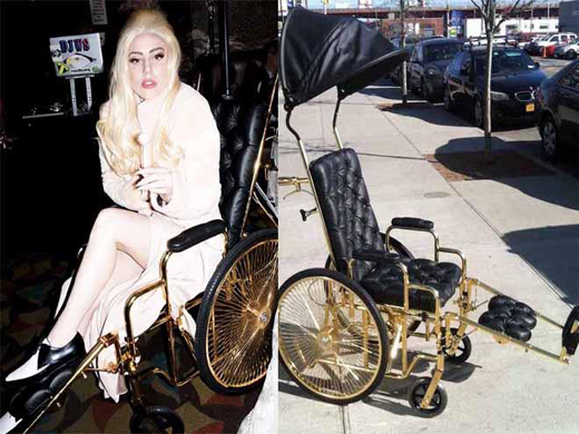 By Beth Hardie Lady Gaga has a 24-carat gold wheelchair as
