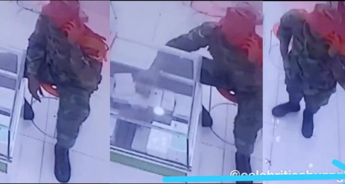 CCTV Captures Ghanaian Soldier Stealing iPhone 11 Pro At A Phone Shop