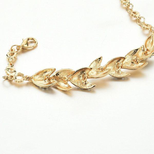 Elegant Crystal Leaves Bracelet – Trendy Crystal Bracelet – Twisted Leaves Crystal Bracelet - Best Gifts Gallery