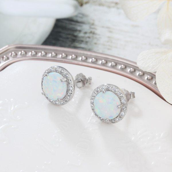 White Opal Earrings - 925 Sterling Silver Opal Earrings