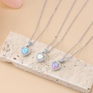Opal Heart Necklace - Opal Heart Pendant - Silver Opal Necklace - Silver Opal Heart 3