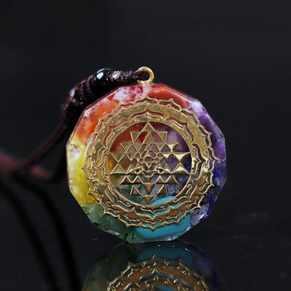 Chakra Necklace - Chakra Pendant - Yoga Necklace - Energy Necklace - Sri Yantra Pendant - Energy Pendant