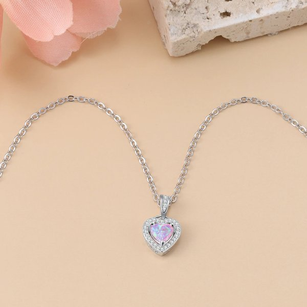 Pink Opal Heart Necklace - Opal Heart Pendant - Silver Opal Necklace - Silver Opal Heart 2