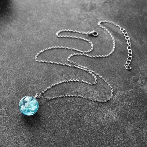 Blue Sky White Clouds Necklace - Blue Sky White Clouds Pendant - Blue Sky Necklace