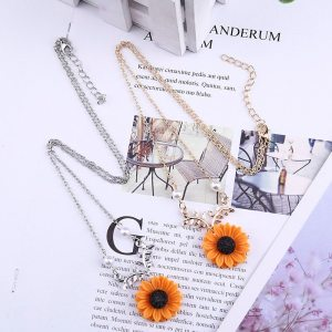 Pearl Sunflower Necklace – Delicate Sunflower Necklace – Sunflower Pendant Necklace - Sunflower Jewelry – Best Gifts Gallery