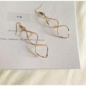 Double Loop Drop Earrings – Long Twist Dangle Earrings – Figure 8 Earrings - Figure Eight Earrings - Best Gifts Gallery