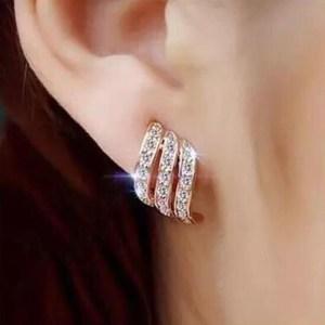 Triple Twist Crystal Stud Earrings – Trendy Crystal Designer Earrings - Triple Crystal Stud Earrings – Best Gifts Gallery