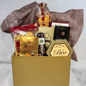 Classic Gold Gift Box with cheese, summer sausage, truffles, hot cocoa, caramel corn, toffee pretzels, yogart pretzels, cheese popcorn