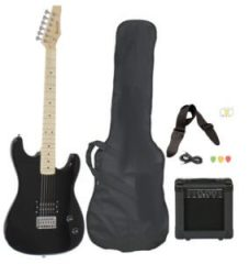 Full-Size Black Electric Guitar with Amp