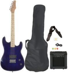 Full-Size Blue Electric Guitar with Amp