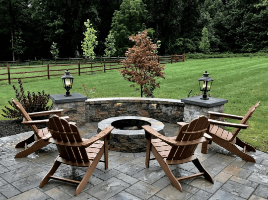 Patio Fire Pit with Bench
