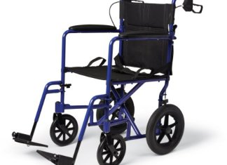 "Medline MDS808210ABE Aluminum Transport Chair with 12"" Wheels"