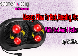 Massage Pillow For Back, Kneading, Neck With Heat And 4 Rollers By Nekteck