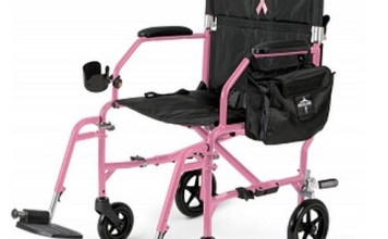 "Medline Ultralight Transport Chair, 19"" Wide Seat, Pink Frame"