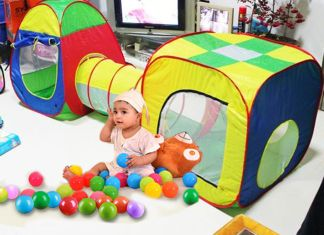 cubby Combo Pop Up tent & Teepee together to create a single play area