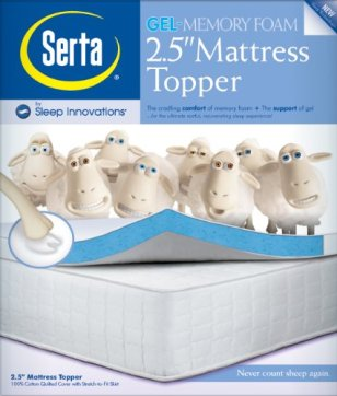 2.5″ Lucid by LinenSpa Gel Infused Memory Foam Mattress Topper