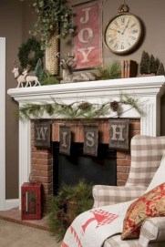 Marvelous Rustic Christmas Fireplace Mantel Decorating Ideas02