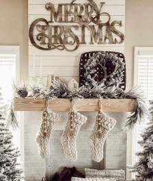 Marvelous Rustic Christmas Fireplace Mantel Decorating Ideas11