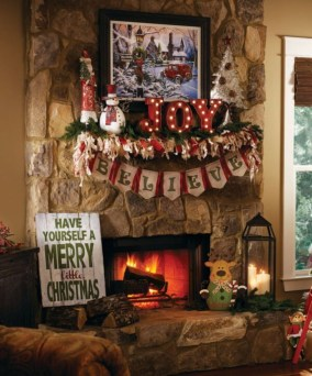 Marvelous Rustic Christmas Fireplace Mantel Decorating Ideas16