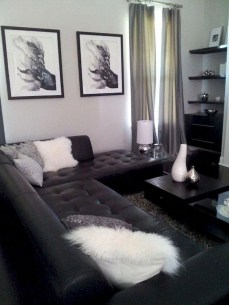 Luxury Black Leather Living Room Sofa Ideas For Comfortable Living Room28