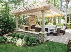 Relaxing Outdoor Fireplace Designs For Your Garden44