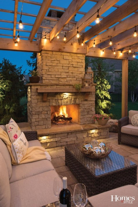 Relaxing Outdoor Fireplace Designs For Your Garden47