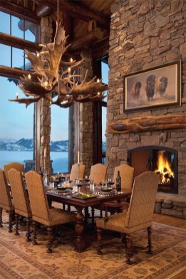 Warm Cozy Rustic Dining Room Designs For Your Cabin15
