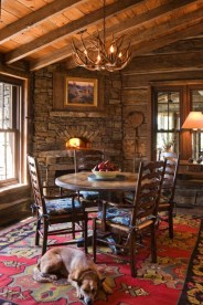 Warm Cozy Rustic Dining Room Designs For Your Cabin21