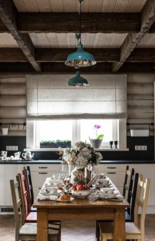 Warm Cozy Rustic Dining Room Designs For Your Cabin28