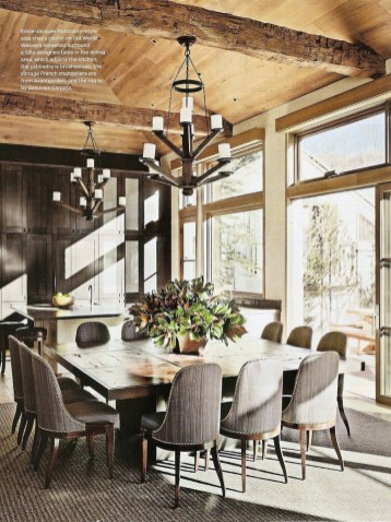 Warm Cozy Rustic Dining Room Designs For Your Cabin29