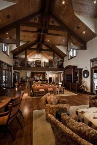 Warm Rustic Family Room Designs For The Winter23