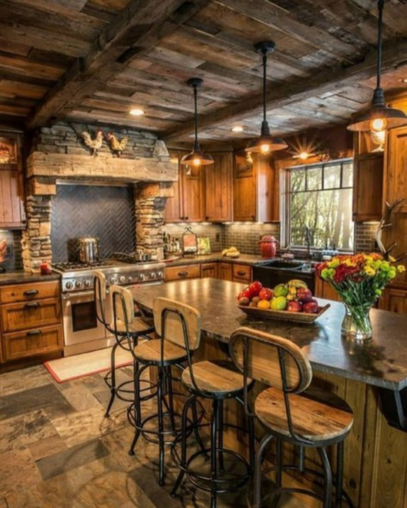 Warm Cozy Rustic Kitchen Designs For Your Cabin37