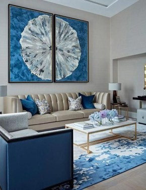 Cozy And Luxury Blue Living Room Ideas26