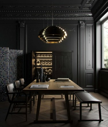 Luxurious Black And Gold Dining Room Ideas For Inspiration37