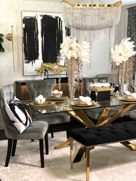 Luxurious Black And Gold Dining Room Ideas For Inspiration45