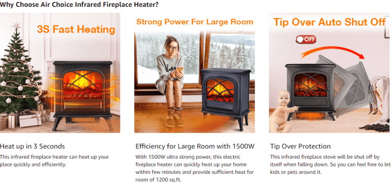 infrared electric fireplace heater