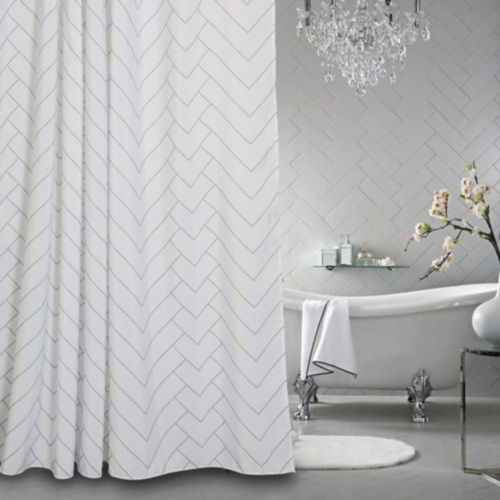Aimjerry White Striped Fabric Shower Curtain