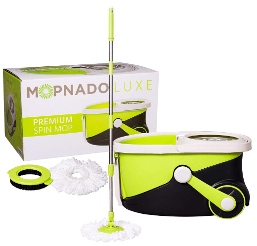 mopnado – deluxe stainless steel rolling spin mop system