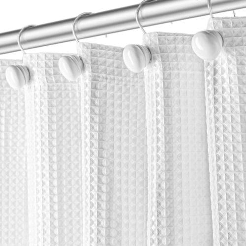 Waffle White Fabric Shower Curtain
