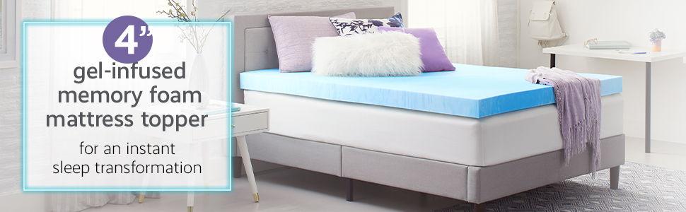 Comfort Revolution 4 Gel-Infused Memory Foam Mattress Topper
