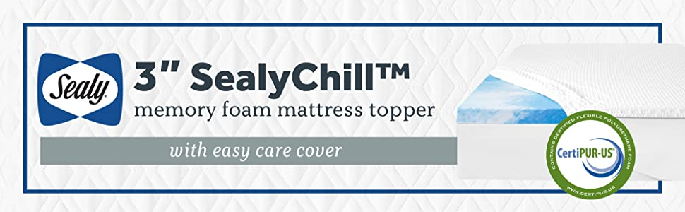 Sealy 3 SealyChill Gel Memory Foam Mattress Topper