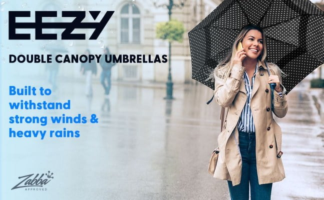 eez y compact travel umbrella with windproof double canopy construction 1