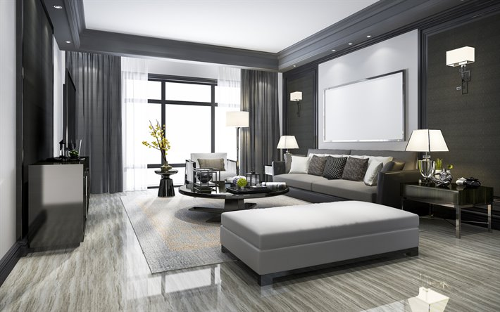 Download wallpapers modern interior design, living room ...