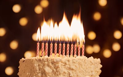 Download Wallpapers Cake With Candles Happy Birthday