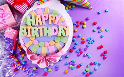 Download Wallpapers Happy Birthday Gifts Holiday Cake