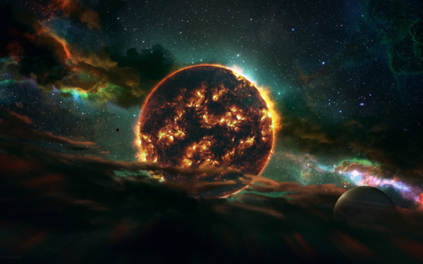 Download wallpapers fire planet, solar system, galaxy ...