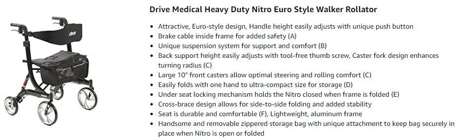 heavy duty nitro euro style walker rollator Reviews