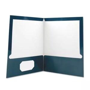 pocket folder, paper, navy blue