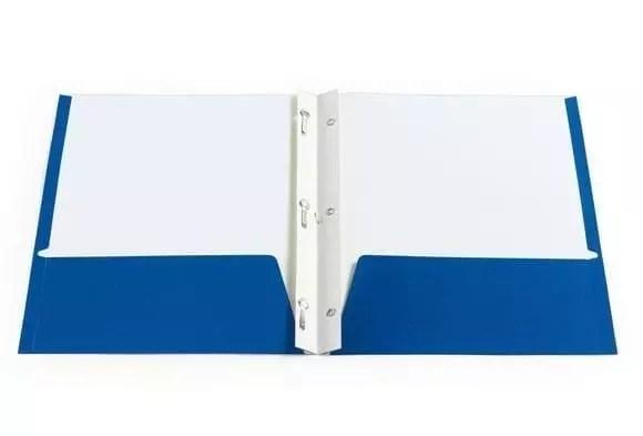 Folder, pocket with brad prong blue