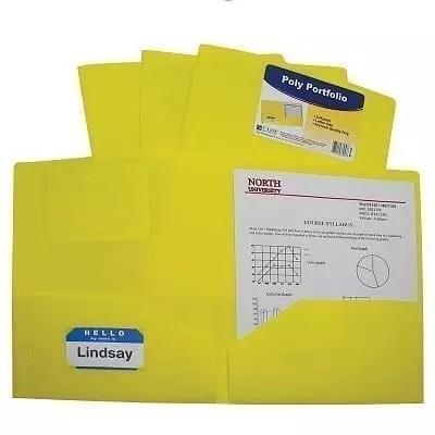 Folder plastic poly 2 pocket yellow